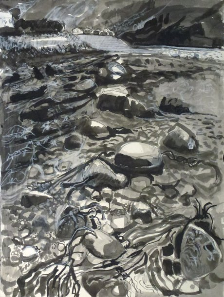 Low tide, Ullapool, ink wash drawing