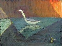 Sunlit Leith heron