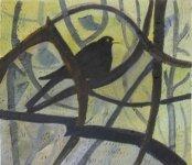 Blackbird in a Sunset Bush