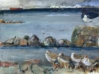 Oystercatcher and dunlin