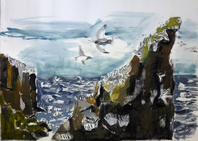 The Cleaver, St Abbs head, painting, gouache and ink