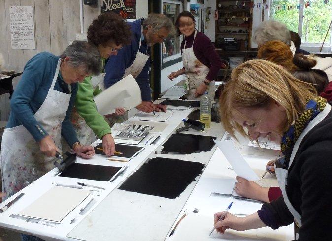 Students at work, printmaking