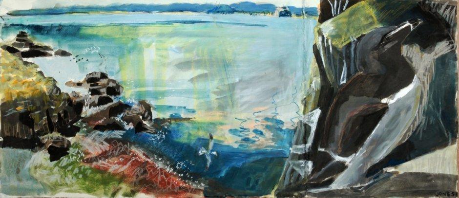 Razorbill overlooking Pilgrim's Haven, mixed media on paper