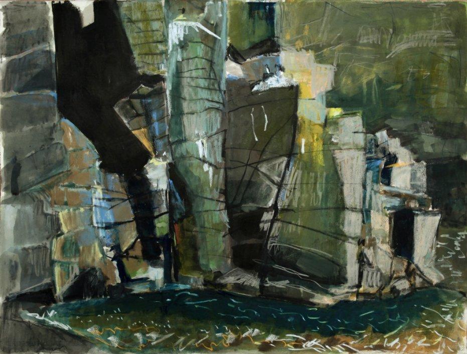Seabird ledges, Altarstanes, mixed media, 76 x 56 cm